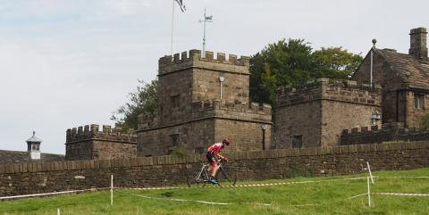 Red Rose Rider in front of Hoghton Tower