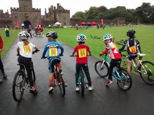 Young Cyclocross racers at Hoghton Tower